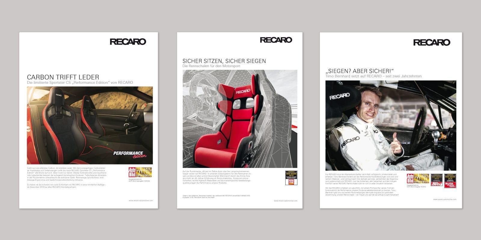 RECARO – Übersicht Anzeigen