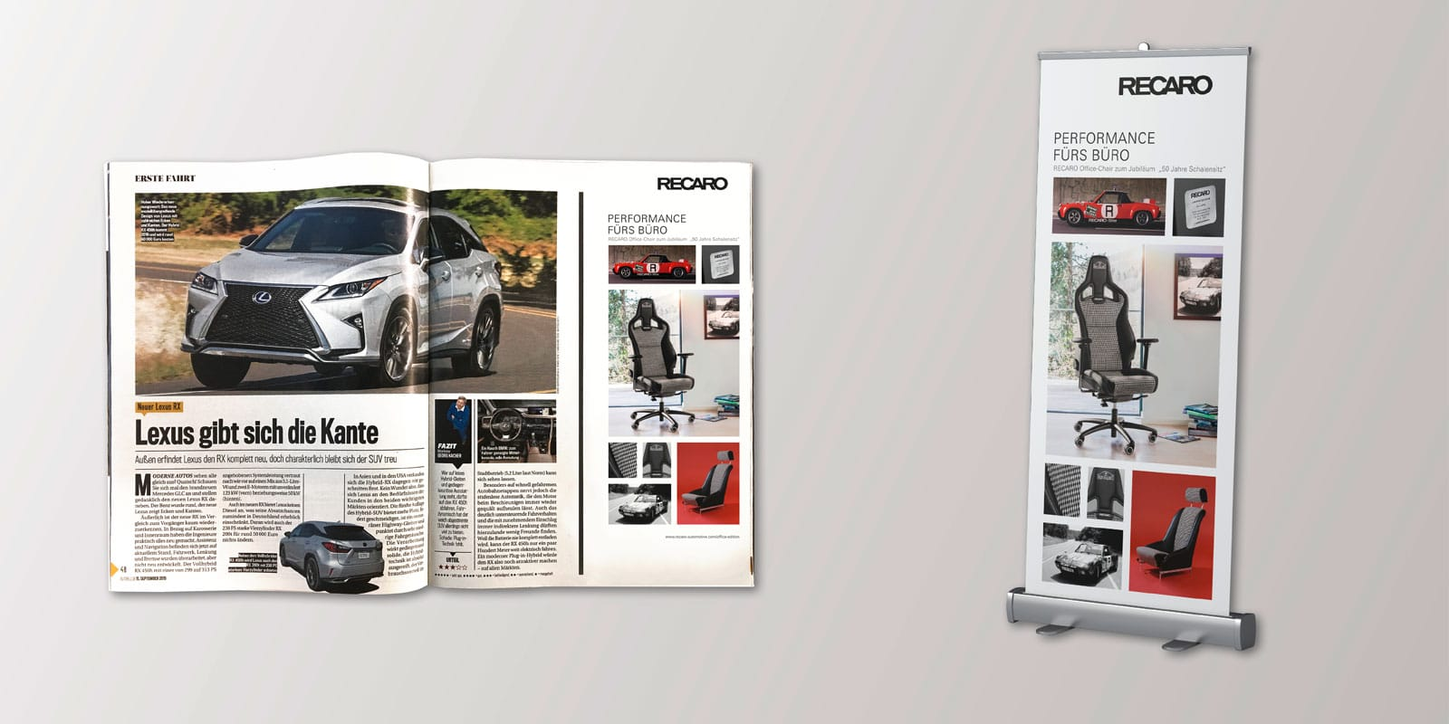 RECARO Office Edition – Anzeige & Roll-Up