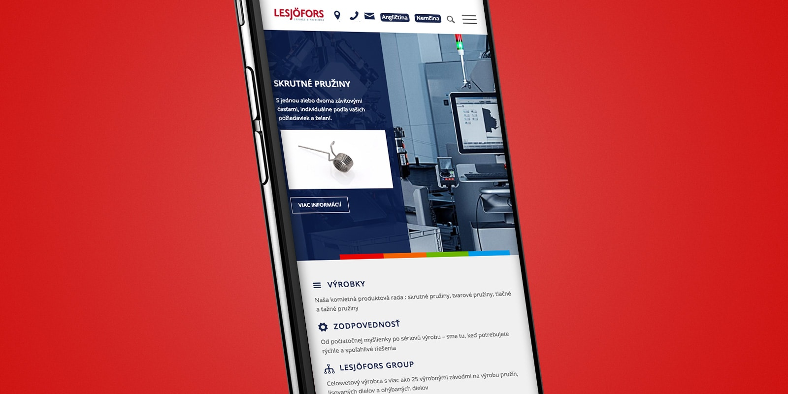 Lesjöfors Springs Slovakia – Relaunch Website