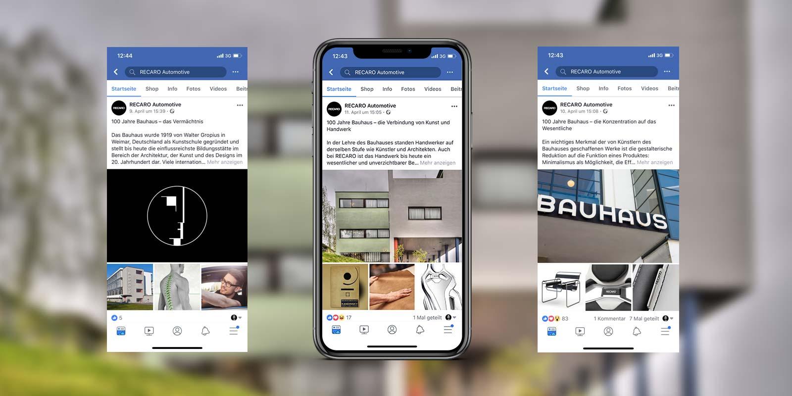 RECARO Post Bauhaus auf facebook