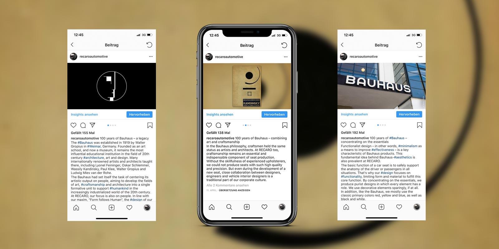 RECARO Post Bauhaus auf instagram