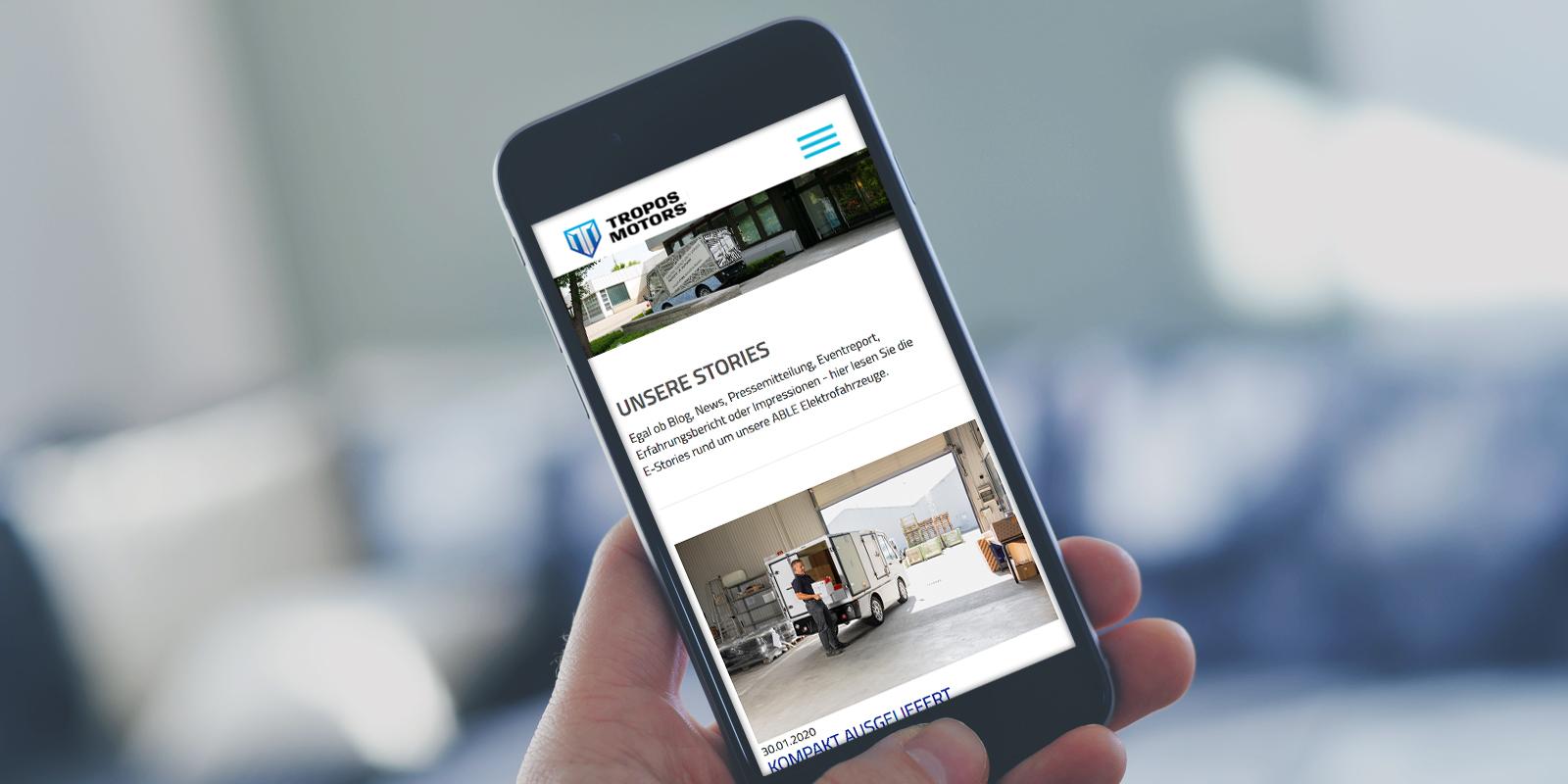 Tropos Motors Website - Mobile Ansicht